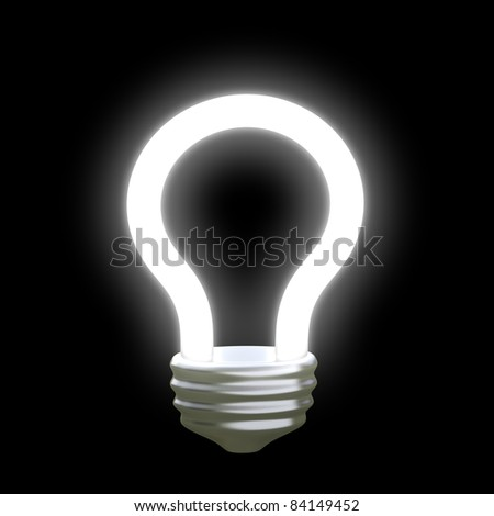 glowing idea light bulb 3d - stock photo
