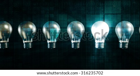 Glowing Light Bulb as a Business Idea Concept