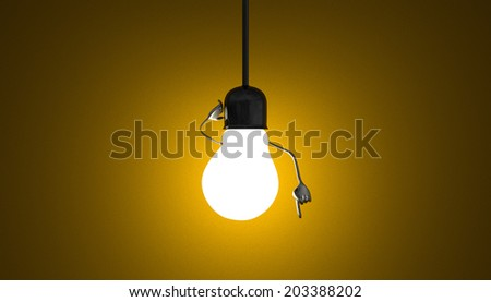 Glowing light bulb character in lamp socket on wire in moment of insight on yellow textured background - stock photo