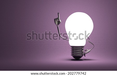 Glowing light bulb character with big metallic hands in moment of insight on violet textured background - stock photo