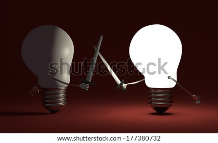 Glowing light bulb fighting duel against switched off one with swords on dark red textured background - stock photo
