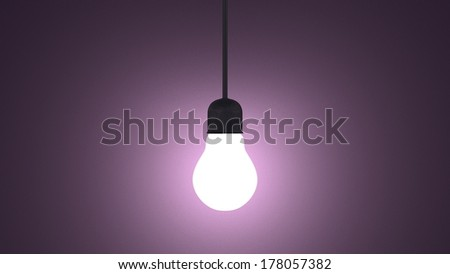 Glowing light bulb in lamp socket hanging on wire on dark violet textured background