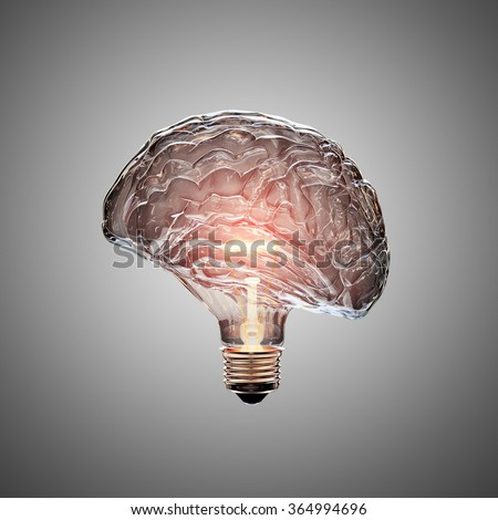 Glowing Light Bulb with the glass shaped as a Brain. This 3D illustration is conceptual of an active, creative, thinking mind or idea. - stock photo