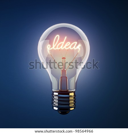 Glowing light bulb with the word idea - stock photo
