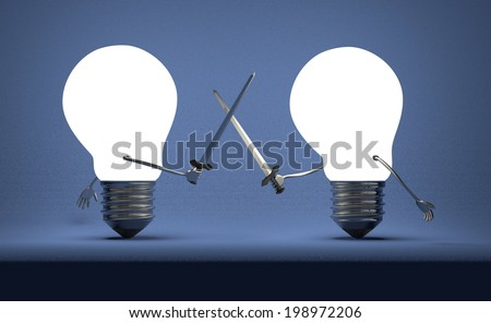 Glowing light bulbs fighting duel with swords on dark blue textured background - stock photo