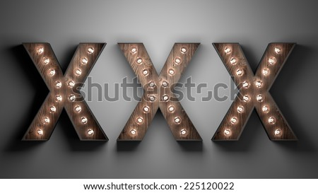 Glowing lights XXX marquee for adult content material - stock photo