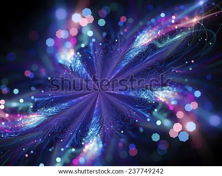 Glowing magic star fractal, computer generated abstract background - stock photo