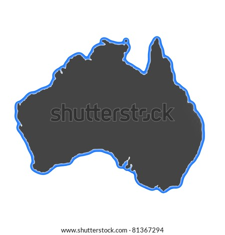 glowing map of Australia - stock photo