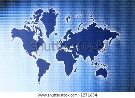 Glowing map of the world with binary code and gradient blue background - stock photo