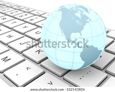 Glowing model of Earth on computer keyboard.  Elements of this image furnished by NASA - stock photo