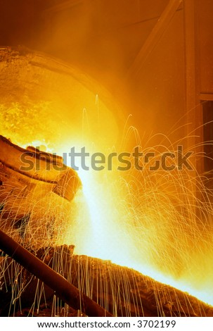 Glowing, molten hot steel - stock photo