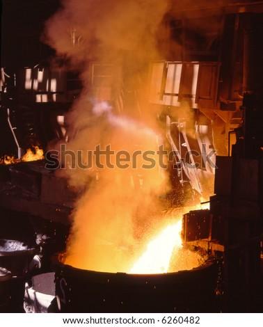 Glowing, molten hot steel - stock photo