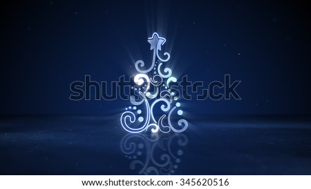 glowing neon christmas tree shape. Computer generated abstract holiday symbol