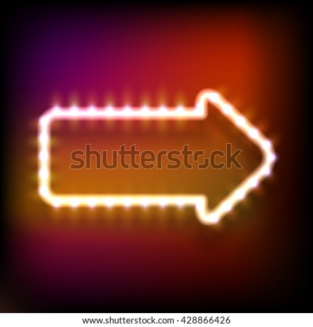 Glowing neon frame in the shape of arrow with light bulbs on colorful dark background for your design.  Raster version - stock photo