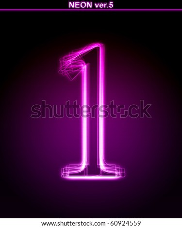 "Glowing neon number on black background. Letter 1. (Full font in portfolio. Search by ""neon pink font"".) - stock photo"