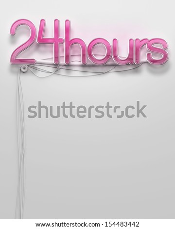 Glowing neon signboard with 24 Hour word and copyspace - stock photo