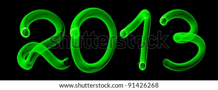 Glowing numbers of new 2013 year - stock photo