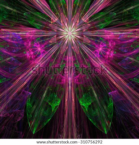 Glowing pink,purple,green exploding flower/star fractal background with a detailed decorative pattern, all in high resolution. - stock photo