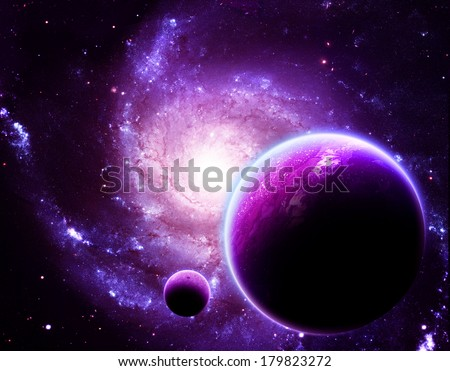 Glowing Planet Above Stunning Galaxy - Elements of this Image Furnished by NASA - stock photo