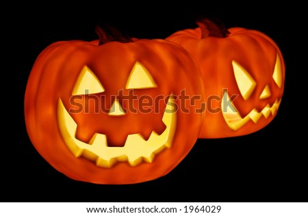 Glowing Pumpkins for Halloween - stock photo
