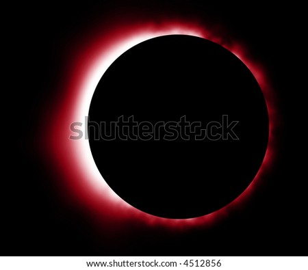 Glowing red eclipse in outer space - stock photo