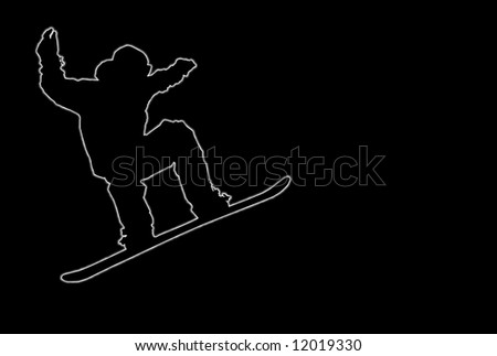 Glowing silhouette of a snowboarder over black