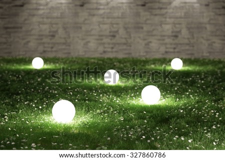 Glowing spheres in garden 3D rendering
