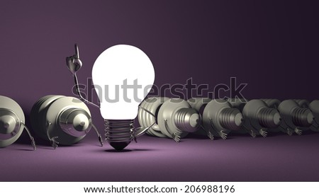 Glowing tungsten light bulb character in moment of insight standing among many switched off lying fluorescent ones on violet textured background