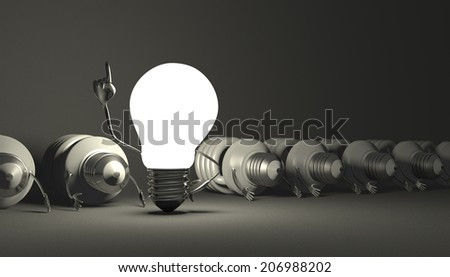 Glowing tungsten light bulb character in moment of insight standing among many switched off lying fluorescent ones on gray textured background
