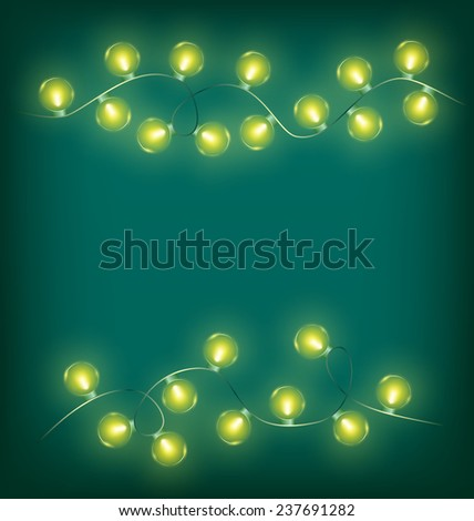 Glowing yellow twisted led Christmas lights garlands on cyan background - stock photo