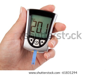 Glucometer showing a bad result in the display - stock photo