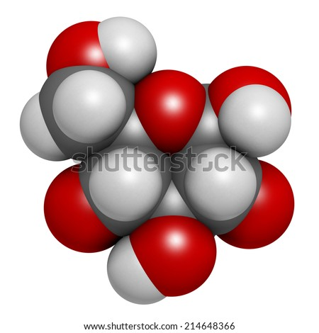 Glucose (D-glucose, dextrose) grape sugar molecule. Atoms are represented as spheres with conventional color coding: hydrogen (white), carbon (grey), oxygen (red) - stock photo