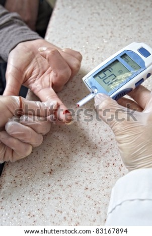 Glucose level blood test - stock photo