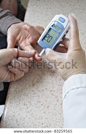 Glucose level blood test - stock photo