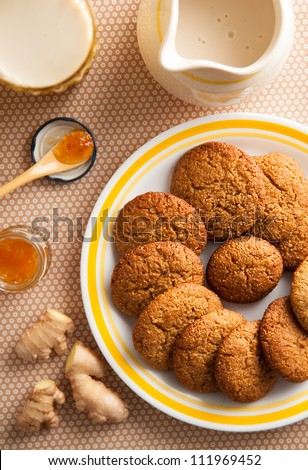 Gluten and Dairy Free Version of Ginger Biscuits Served with Lemon Jam - stock photo