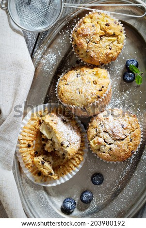Gluten free almond and oat muffins with apple and chocolate chips