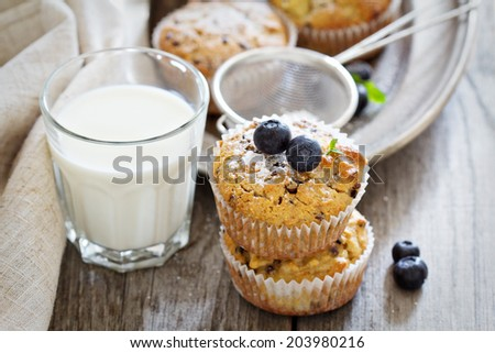 Gluten free almond and oat muffins with apple and chocolate chips - stock photo