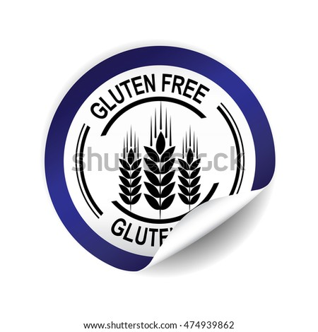 Gluten Free  blue sticker, button, label and sign.