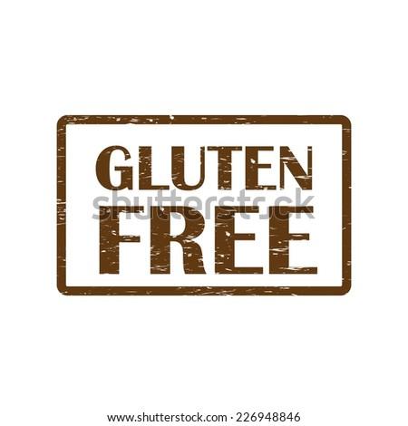 Gluten free Brown rubber stamp.  - stock photo