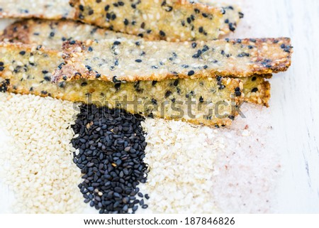 Gluten free crackers with seeds and quinoa flakes.