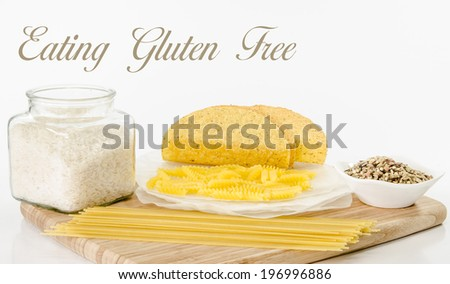Gluten free food choices with text