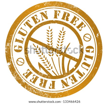 gluten free grunge stamp, in english language - stock photo