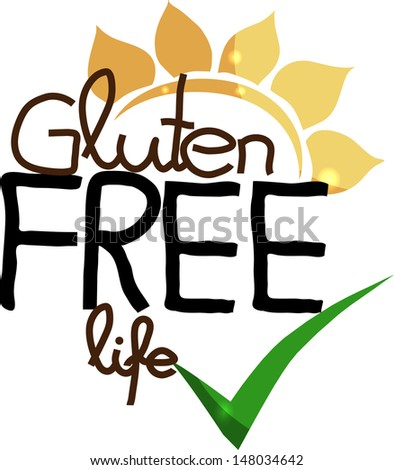 Gluten free life. Hand drawn unique design. Isolated on a white background. - stock photo