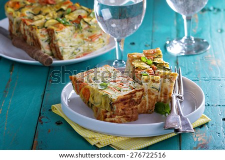 Gluten free vegetable loaf with coconut flour, zucchini and carrot - stock photo