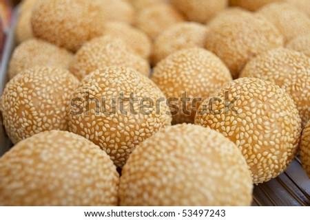 glutinous rice sesame balls - stock photo