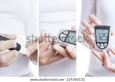 glycemia collage consisting of three pictures: a prick, blood drop in a reactive strip and a glucometer with a correct value isolated on a white background - stock photo