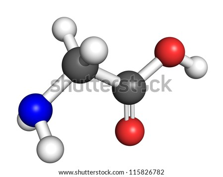 Glycine (amino acid) molecule, ball and stick model. Atoms colored according to convention. - stock photo