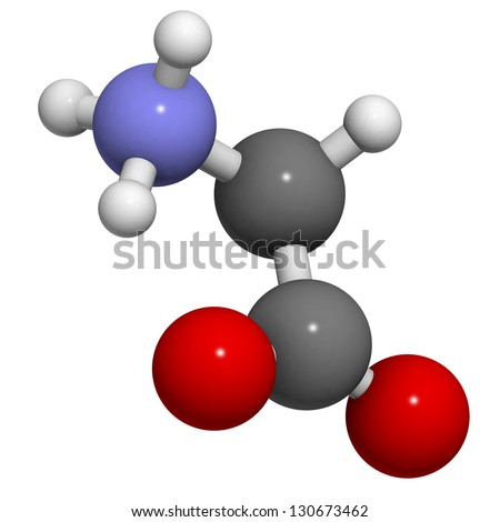 Glycine (Gly, G) amino acid, molecular model. Amino acids are the building blocks of all proteins. Atoms are represented as spheres with conventional color coding: hydrogen (white), carbon (grey), ... - stock photo