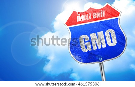 gmo, 3D rendering, blue street sign
