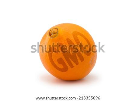 GMO juicy orange isolated on white background - stock photo